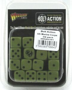 Bolt-Action-408403101-US-Marine-Corps-D6-Pack-16-Dice-Green-amp-Black-WWII-NIB