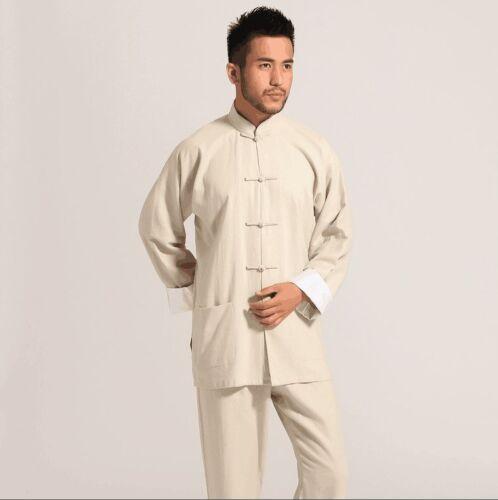 Tradtional Chinese men/'s Linen kung fu suit pajamas sets SZ S-XXXL