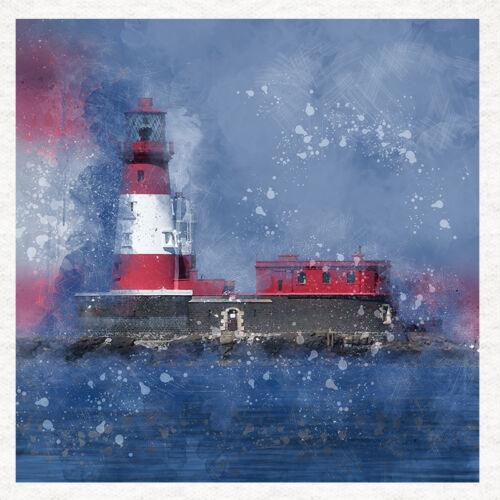 Quality Fabric Cushion Upholstery Craft Quilting Panel Longstone Lighthouse