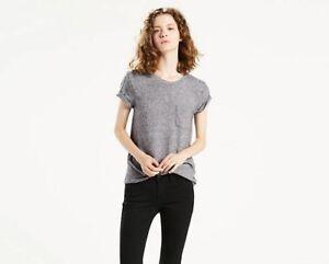 Levi-039-s-perfekte-Pocket-Tee-Damen-T-Shirt-grau
