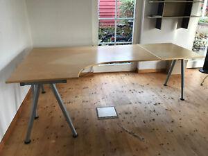 ikea galant schreibtisch eckschreibtisch l form t beine mit verl ngerung ebay. Black Bedroom Furniture Sets. Home Design Ideas