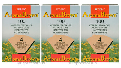 3 Boxes of 100 Filters Filtropa Aroma Brown Coffee Filter #4-300 Count