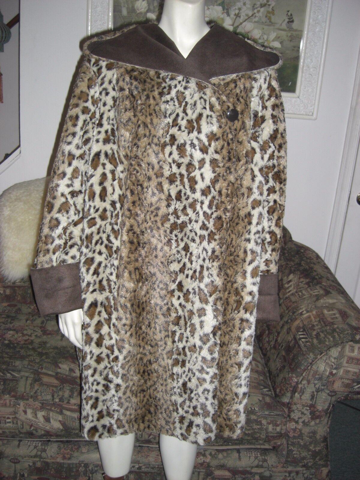Adrienne Landau Faux Fur Faux Suede Leopard Reversible Hooded Coat 3X NWOT