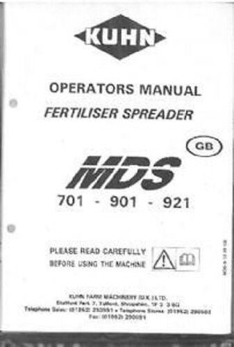 Kuhn fertilizantes esparcidor mds 701 901 921 Manual del operador