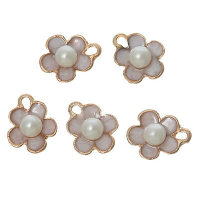 10PCs Acrylic Pearl Charm Pendants Flower Gold Plated Ivory Enamel