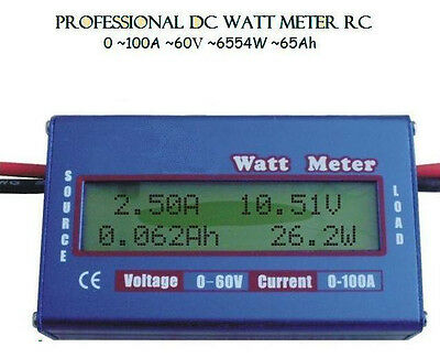 Digital 60V/100A Battery Power Analyzer LCD Watt Meter Balancer For RC Heli