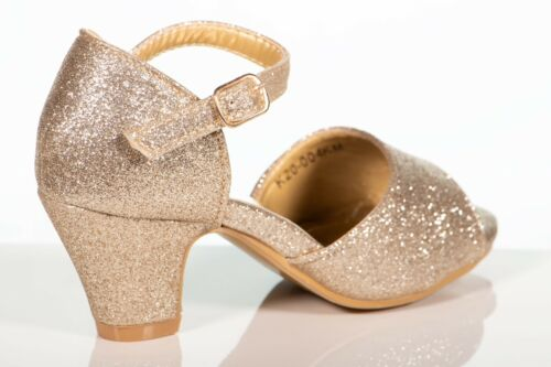 Girls Toddlers /& Youth Pageant Formal Party Silver Gold Glitter Shoe size 9-4