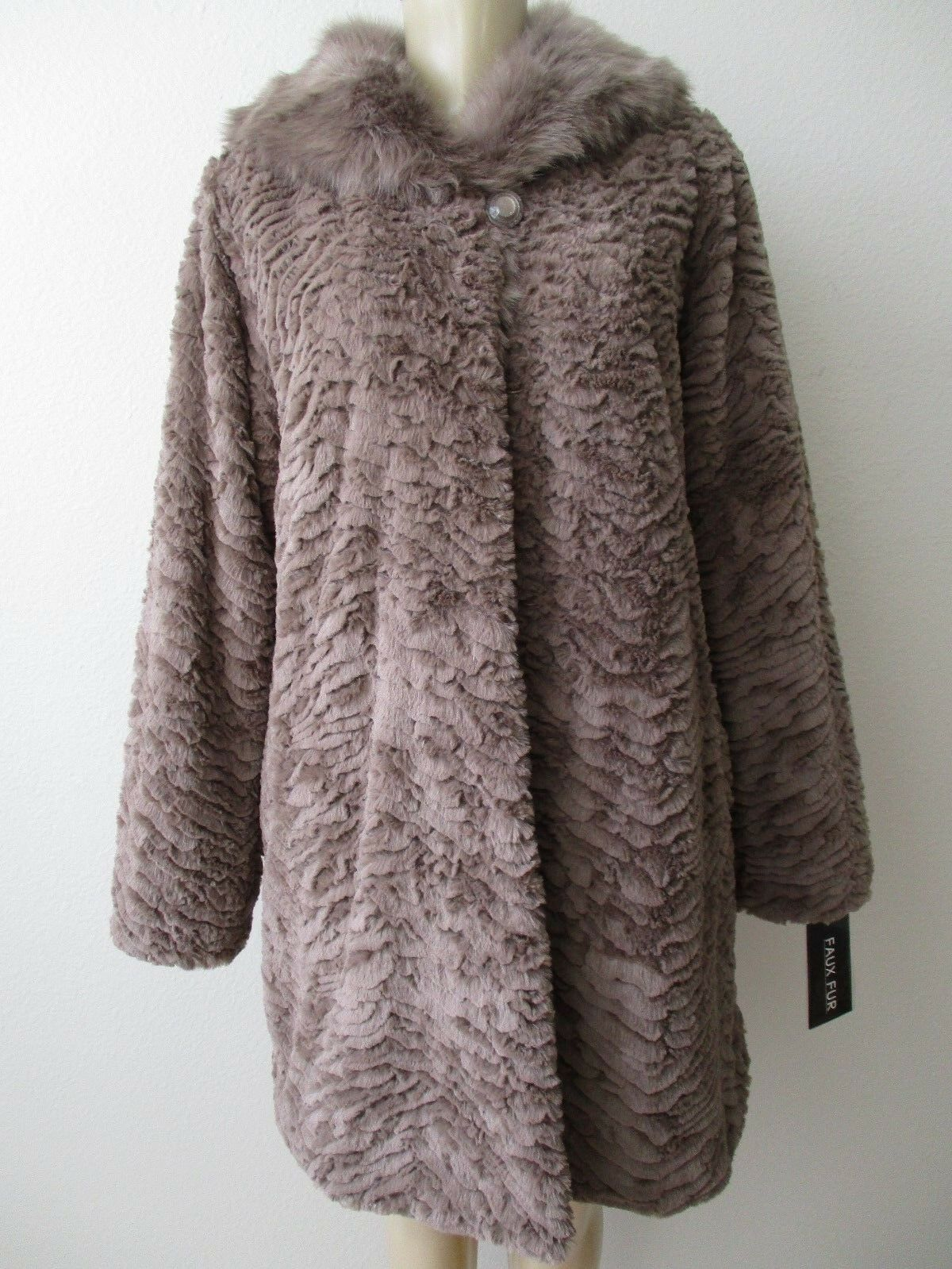 DENNIS BY DENNIS BASSO KHAKI FAUX FUR LONG SLEEVE COAT SIZE XS - NWT