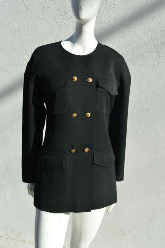 Vintage CHANEL collarless 90's jacket blazer cazad