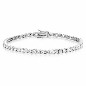 Sterling-Silver-CZ-Tennis-Bracelet-AAA-Round-Brilliant-3mm-Cubic-Zirconia-Gems