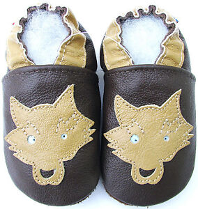 be05484e85225 Details about soft sole leather baby shoes wolf dark brown 6-12m