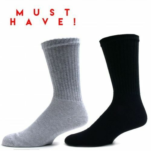 3,6,12 Pairs CREW Mens Solid Sports Socks Cotton 9-11 10-13 White LOT USA LONG