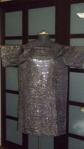 """Fabric /""""chainmail/"""" Chain Mail Tunic LARP Ren Faire Link Costume GOLD or SILVER"""
