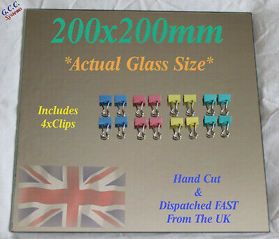 220 x 220mm Mirror Glass Plate For Heated 3D Printer Bed W Clips Creality Anet