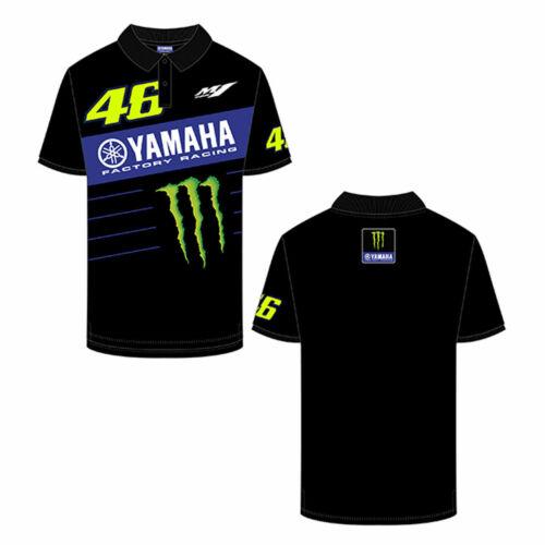 VR46 2020 Yamaha Polo Motorcycle Motorbike T-Shirt Black