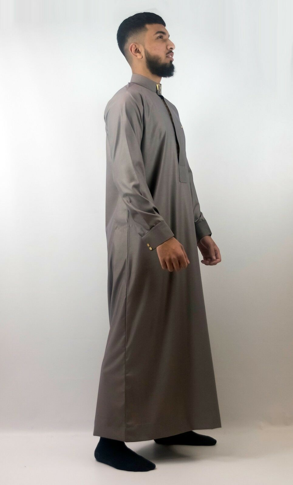 Mens Designer  The Man  Jubba Premium Brown Cuff Jubbah, Thobe, Arab Dubai