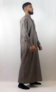 Mens-Designer-034-The-Man-034-Jubba-Slim-Fit-Premium-Brown-Cuff-Jubbah-Thobe-UK