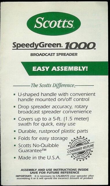 Scotts Speedy Green 1000 Broadcast Spreader Rare Original Factory Owner S Manual