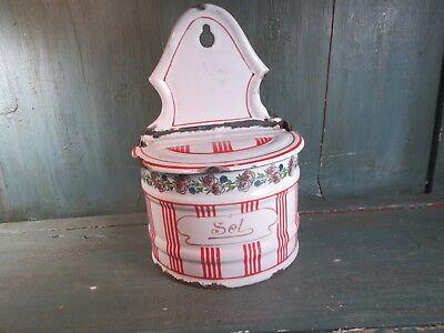 Antike Box Salz Tole Emailliert Dekor Blumen Küche Vintage Ohne RüCkgabe
