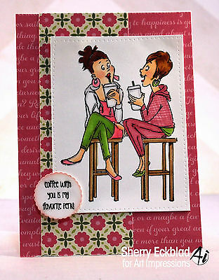 2 Coffee break GIRLS  SET 3 pc L@@K @photo example ART IMPRESSIONS RUBBER STAMPS