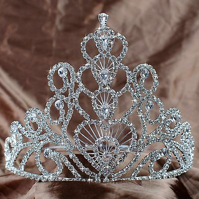 Heart Large Tiaras Crowns Wedding Bridal Rhinestone Diadem Pageant Party Prom