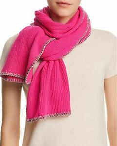 Aqua-Womens-Whipstitch-Cashmere-Scarf-Hot-Pink-and-Grey-492493