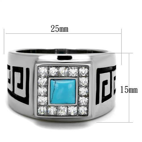 Men/'s Stainless Steel Synthetic Sea Blue Stone Ring 8 9 10 11 12 13 TK2053