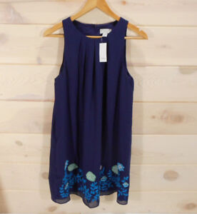 6f37af36259 NWT Ann Taylor Loft Sz 8 Trapeze Dress Navy Blue Floral Embroidered ...