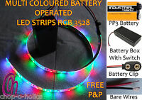 Dolls Houses Led Strip Lights Rgb 3528 Multicoloured Pp3 9v Battery Operated