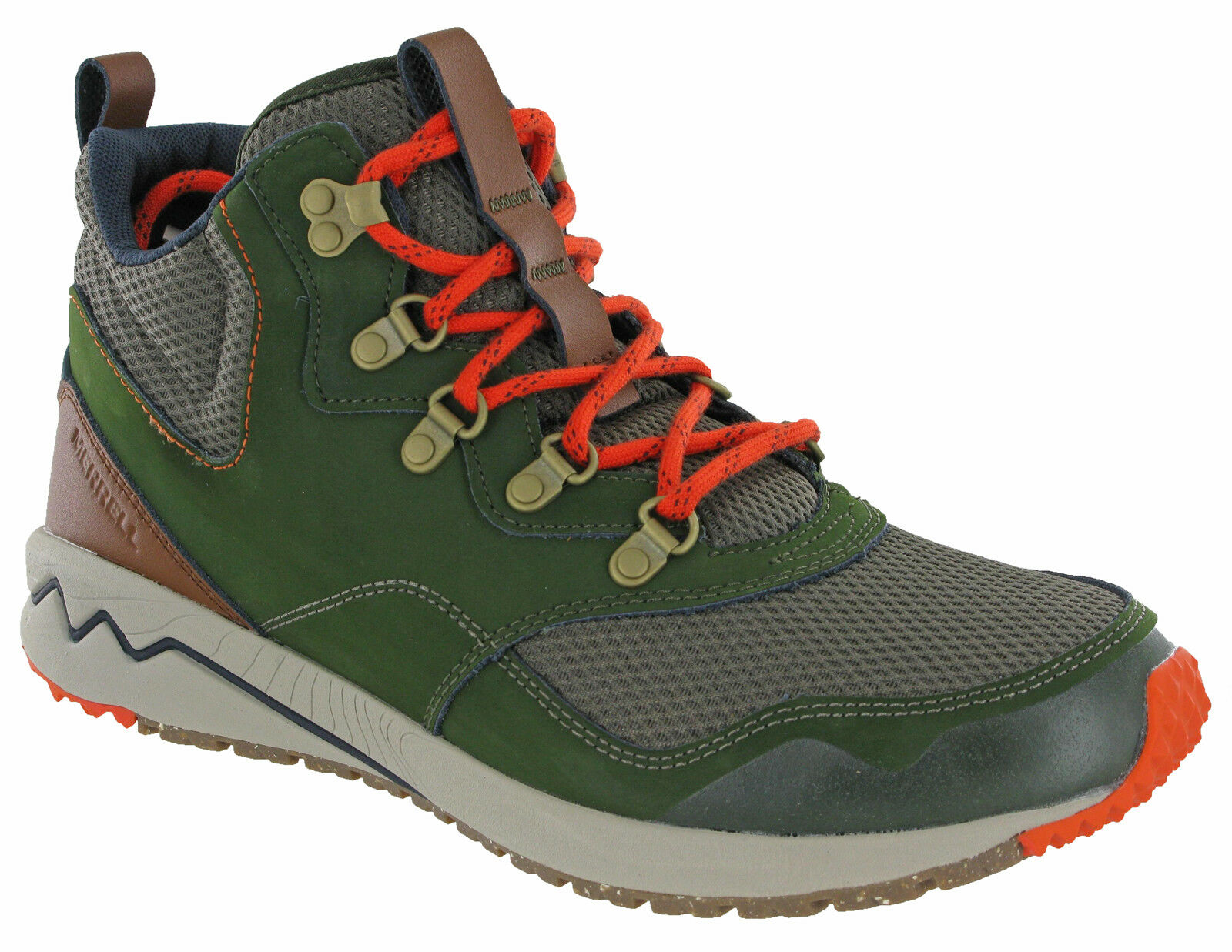 Merrell Stowe Mid Hiking Boots Ankle Mountaineering Walking Mens Leather Rosin