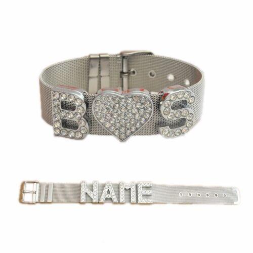 Amplia pulsera de acero inoxidable con nombre-pedrería-enormes letras