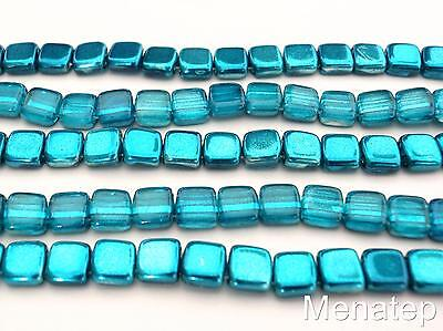 25 6 x 6 x 3 mm CzechMates Two Hole Tile Beads Saturated Metallic Galaxy Blue
