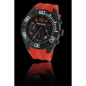 Time-force-TF4145M14-mens-watch-ANALOG-CRONO-montre-RED-amp-BLACK-orologio-RPP-99