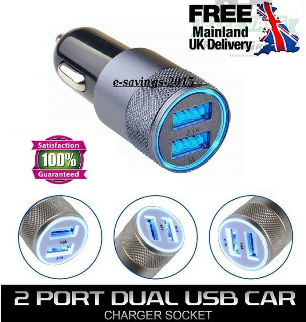 CAR CHARGER UNIVERSAL TWIN 2 PORT DUAL USB FOR SAMSUNG IPHONE HTC LG NOKIA MOBIL