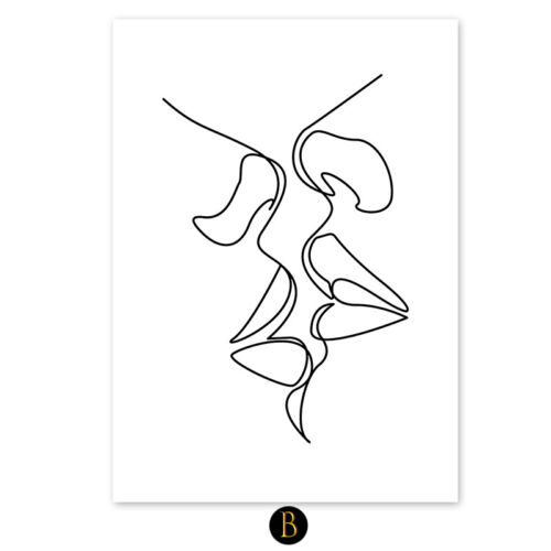 Abstract Love Couple Line Drawing Nordic Poster Canvas Painting Print Pictures
