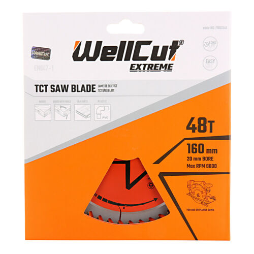TS55 HK55 WellCut TCT Saw Blade 160mm x 48T x 20mm Bore Suitable For Festool