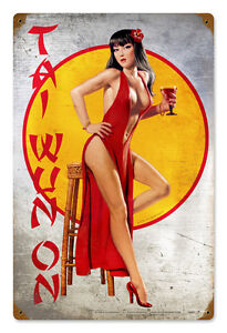 Tai-Wun-On-Hildebrandt-Vintage-Metal-Sign-PINUP-Sexy-Garage-Art-Signed