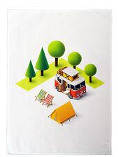 Camper Van and Tent Design Cotton Tea Towel