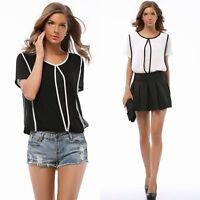 Women's Retro Chic O Neck White Black Short Sleeve Chiffon Blouse Tops T Shirt