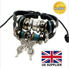 Fashion Jewelry Bracelet Women Vintage Faux Leather Charm Butterfly Pendant HOT