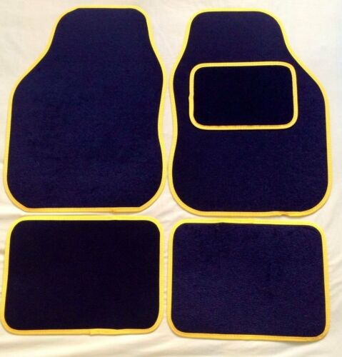 UNIVERSAL CAR FLOOR MATS BLACK WITH YELLOW TRIM FOR CITROEN C1 C2 C3 C4 C5 C6