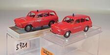 Brekina 1/87 2 x VW 1500 Variant 26512 Einsatzleit. & 26525 FW Mülheim OVP #3421