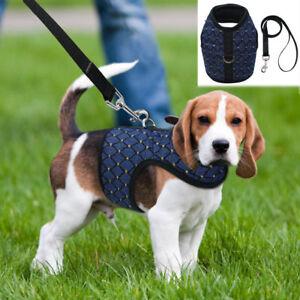 Grid Fabric Pet Dog Harness Leash Set