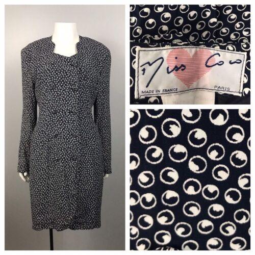 Peplum Dress Sleeveless Black M Vintage Women/'s 80/'s Coco
