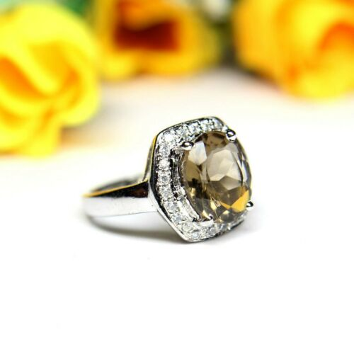 Details about  /Natural Smoky Quartz Gemstone Women Wedding 925 Solid Silver Ring