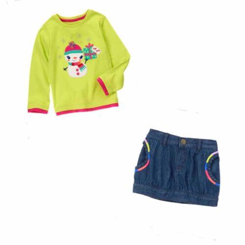 Gymboree Color 2 Pc Set Happy Snowman Top /& Denim Skirt 3T *Retail* NWT