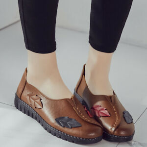 Women-039-s-Comfort-Soft-Slip-On-Casual-Shoes-Round-Toe-Flat-Leather-Loafers-Shoes