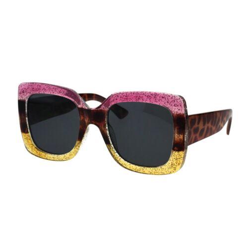 Womens Rectangular Mod Thick Plastic Minimal Retro Designer Sunglasses