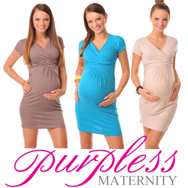 New Classic Elegant Maternity V-Neck Pregnancy Dress  Size 8 10 12 14 16 18 8415