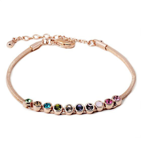 Gold Friendship Strand Bracelet Multicolour CZ Crystals Adjustable Stackable